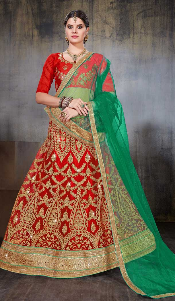 Red Color Net Party Wear Women Lehenga Choli | 379745458
