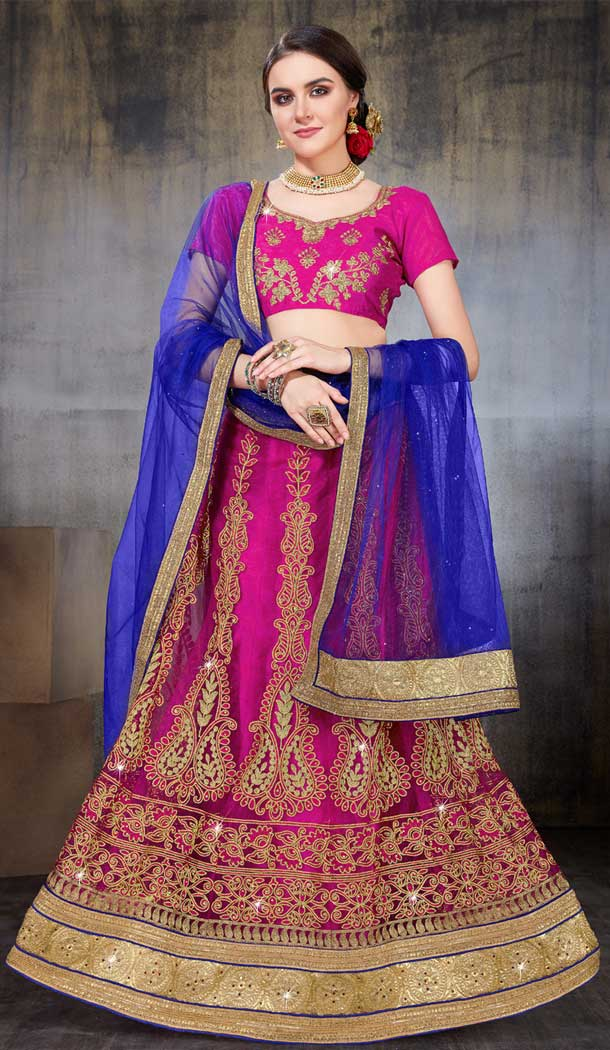 Pink Color Net Party Wear Women Lehenga Choli | 379745460