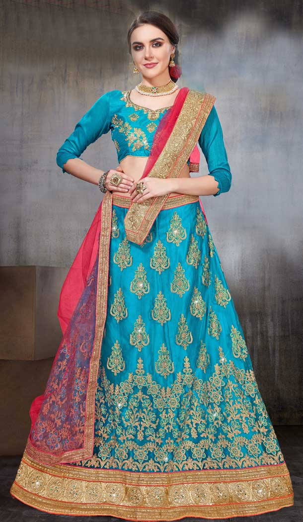 Sky Blue Color Net Party Wear Women Lehenga Choli | 379745461