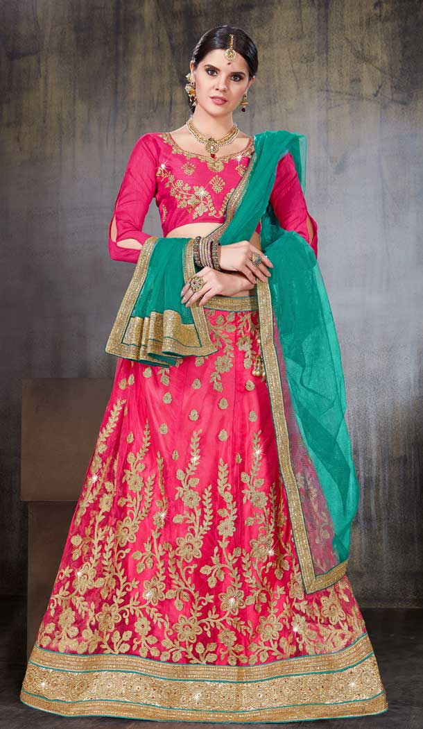 Pink Color Net Party Wear Women Lehenga Choli | 379745462