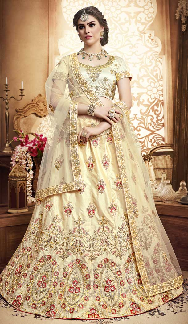 Beige Color Silk Embroidery Designer Lehenga Choli | 380045488