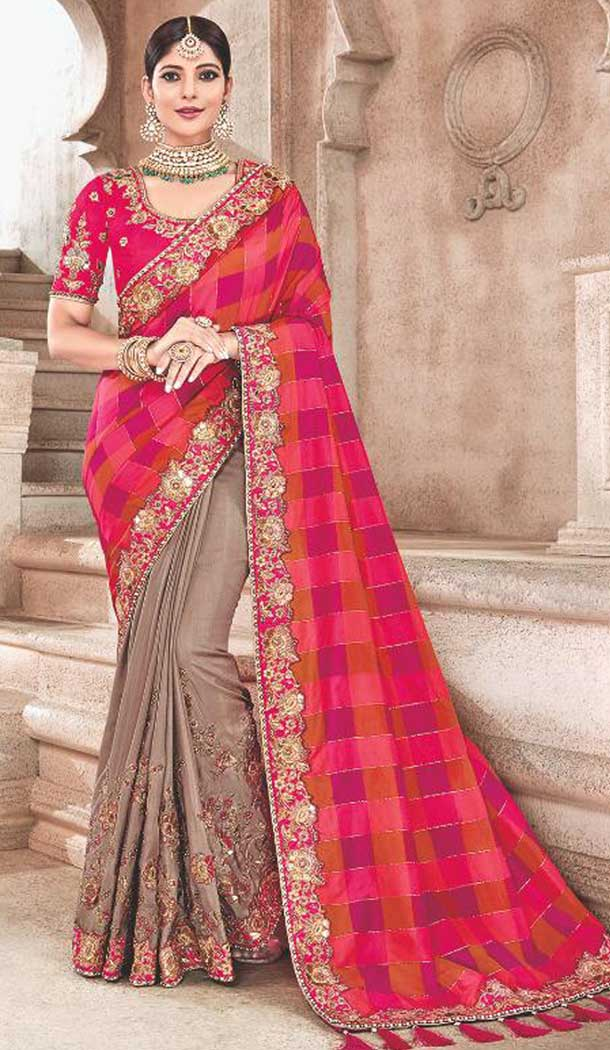 Pink Color Silk Heavy Traditional Designer Saree Blouse | 379245401