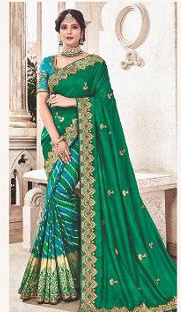 Green Color Silk Heavy Traditional Designer Saree Blouse | 379245402