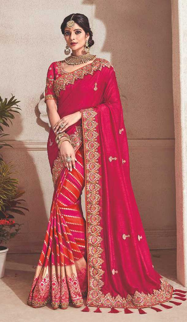 Stylish Red Color Silk Traditional Designer Saree Blouse | 379245403