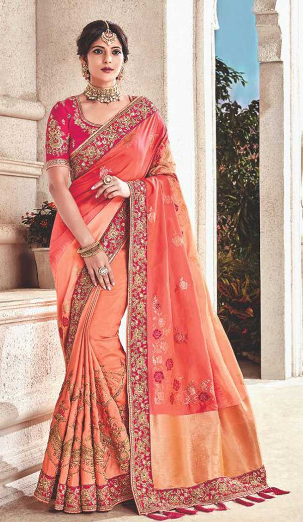 Pink Color Silk Heavy Traditional Designer Saree Blouse | 379245405
