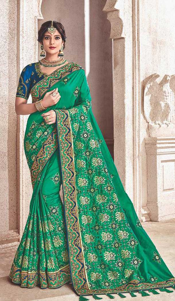 Green Color Silk Heavy Traditional Designer Saree Blouse | 379245406