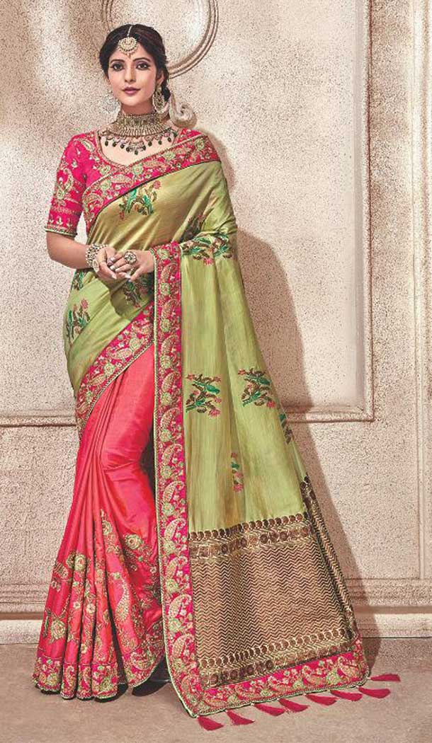 Pink Color Silk Heavy Traditional Designer Saree Blouse | 379245409