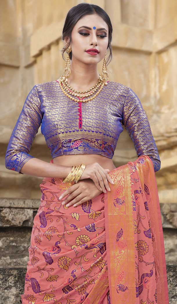 Peach Color Chanderi Silk Kanchipuram Regional Saree | 382745775