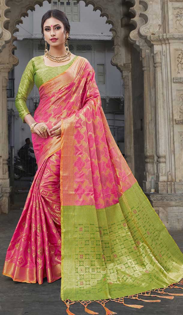 Pink Color Chanderi Silk Kanchipuram Regional Saree | 382745776