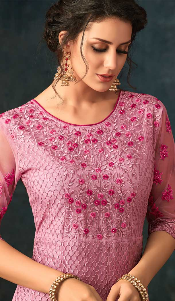 Pink Color Net Designer Floor Length Salwar Kameez - 58387611