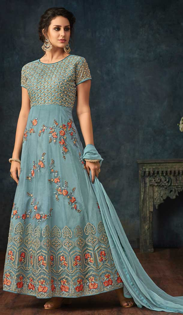 Light Blue Color Net Designer Floor Length Salwar Kameez - 58387613