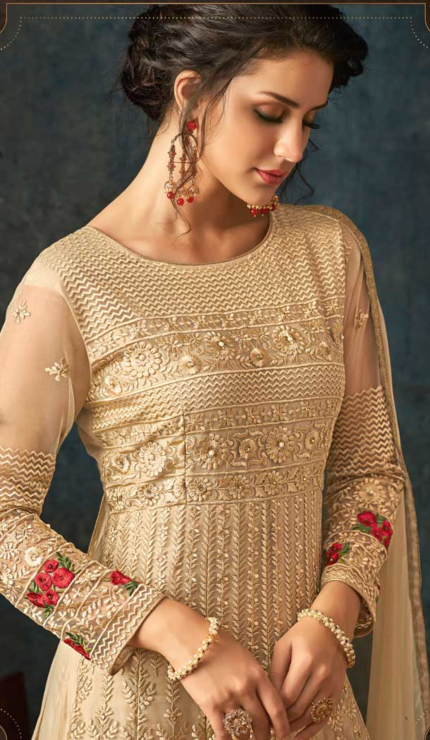 Beige Color Net Designer Floor Length Salwar Kameez - 58387614