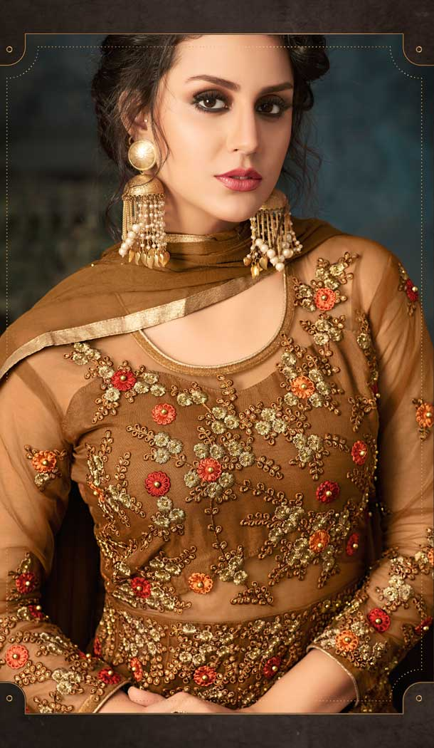 Brown Color Net Designer Floor Length Salwar Kameez - 58387616
