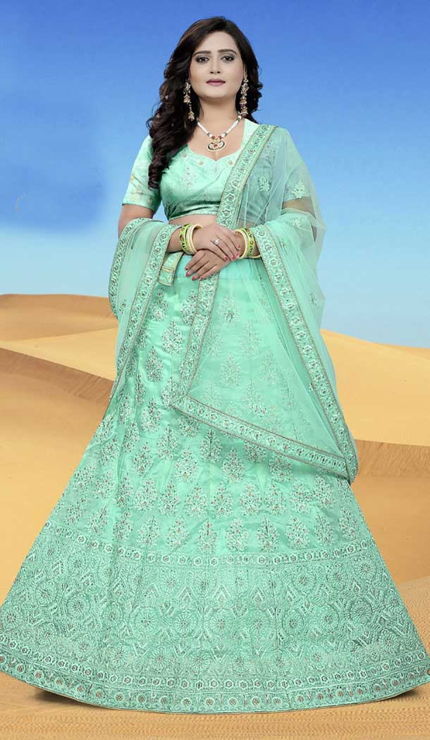 Aqua Green Color Organza Designer Wedding Lehenga Choli | 387946770