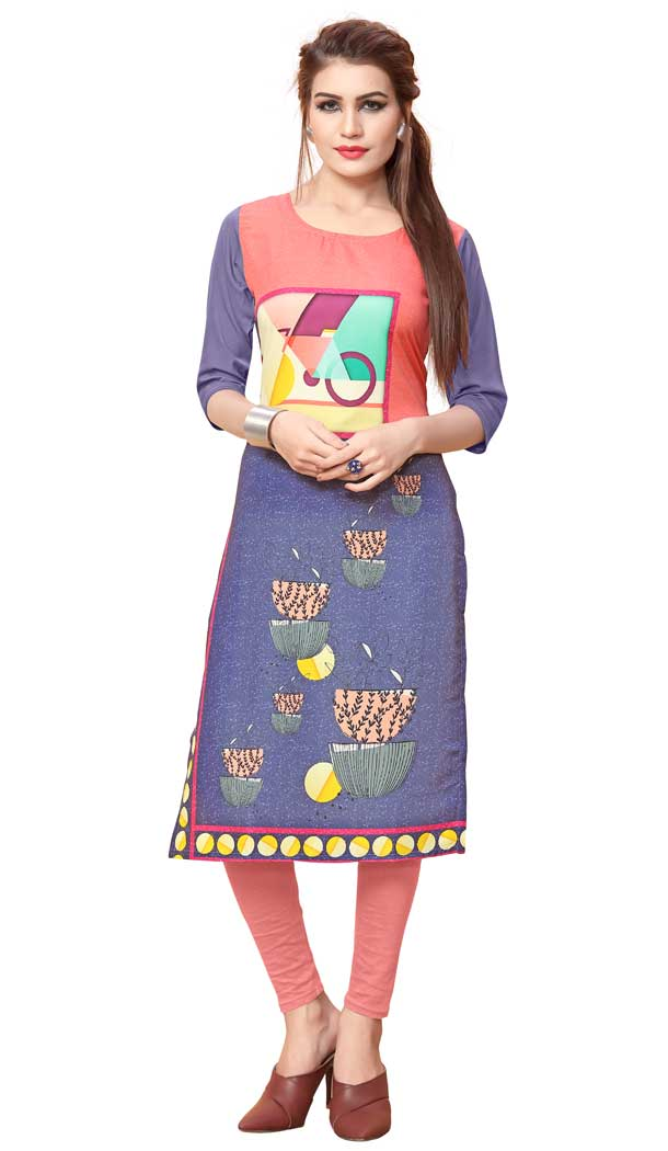 American Crepe Fabric Digital Printed Classy Kurtis in  Multi Color - 3312874