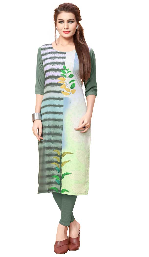 American Crepe Fabric Digital Printed Dazzling Diva Kurtis in Multi Color - 3312878