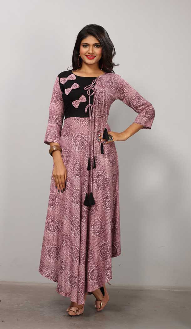 Purple Color Heavy Rayon Designer Ready made Long Kurti - 3342901