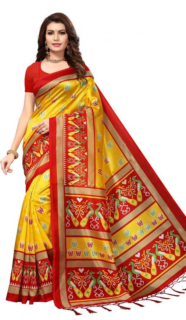 Yellow Color Mysore Silk Printed Causal Wear Saree - 387346614