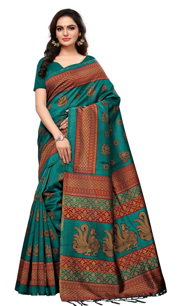 Mysore Silk Printed Causal Wear Saree in Forest Green Color - 387546682