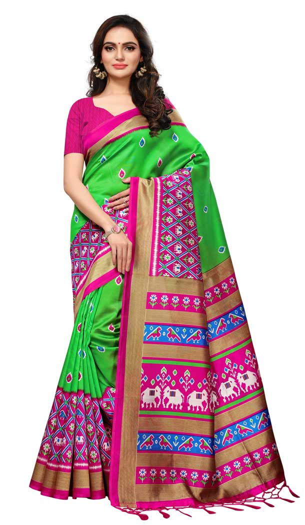 Mysore Silk Printed Causal Wear Saree in Green Color - 387546683