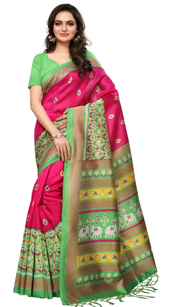 Mysore Silk Printed Causal Wear Saree in Ruby Pink Color - 387546684