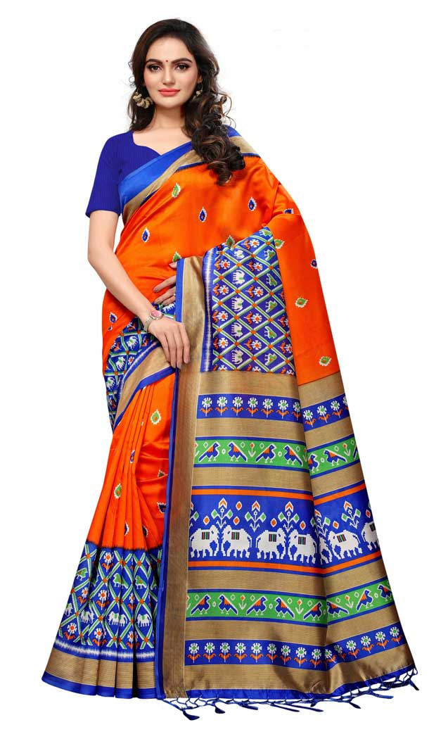 Mysore Silk Printed Causal Wear Saree in Orange Color - 387546685