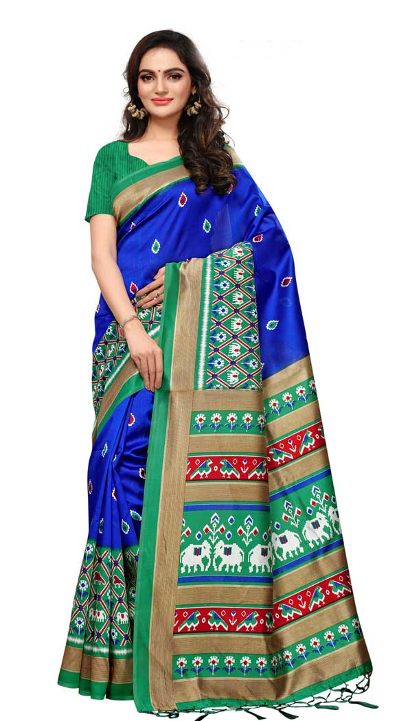 Mysore Silk Printed Causal Wear Saree in Navy Blue Color - 387546686