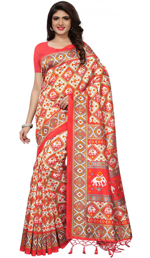 Mysore Silk Printed Causal Wear Saree in Multi Color - 387546687