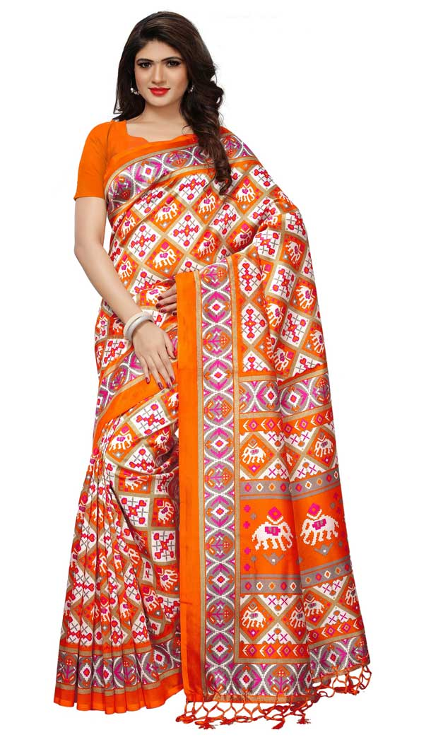 Mysore Silk Printed Causal Wear Saree in Multi Color - 387546688
