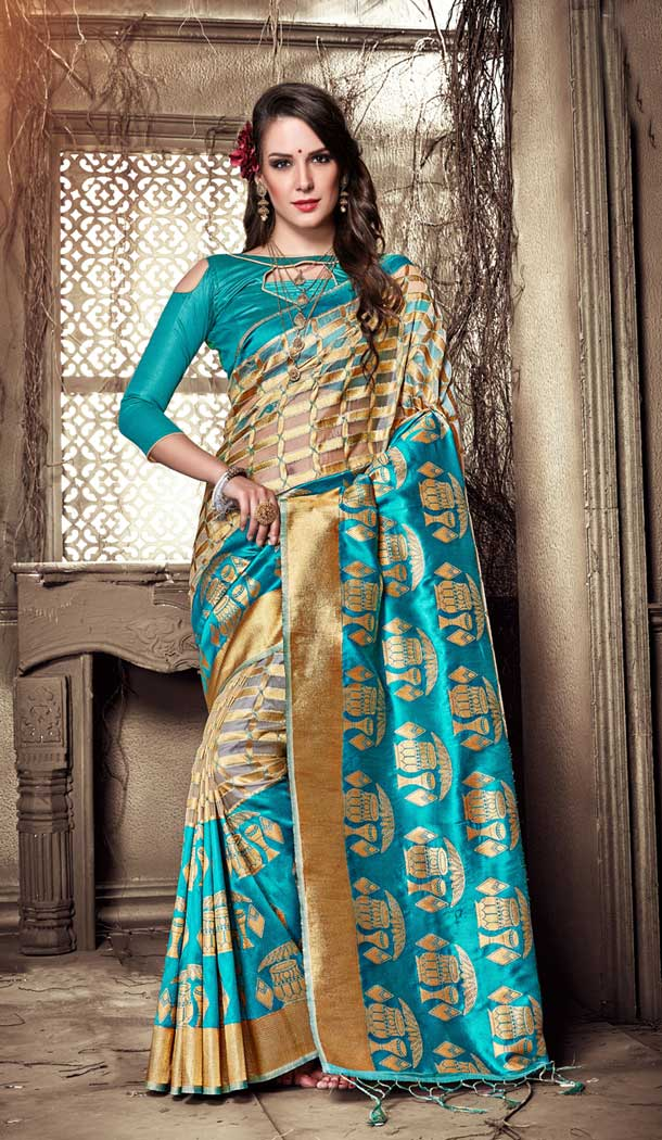 Aqua Blue Color Organza Silk Banarasi Tredtional Saree - 390747089