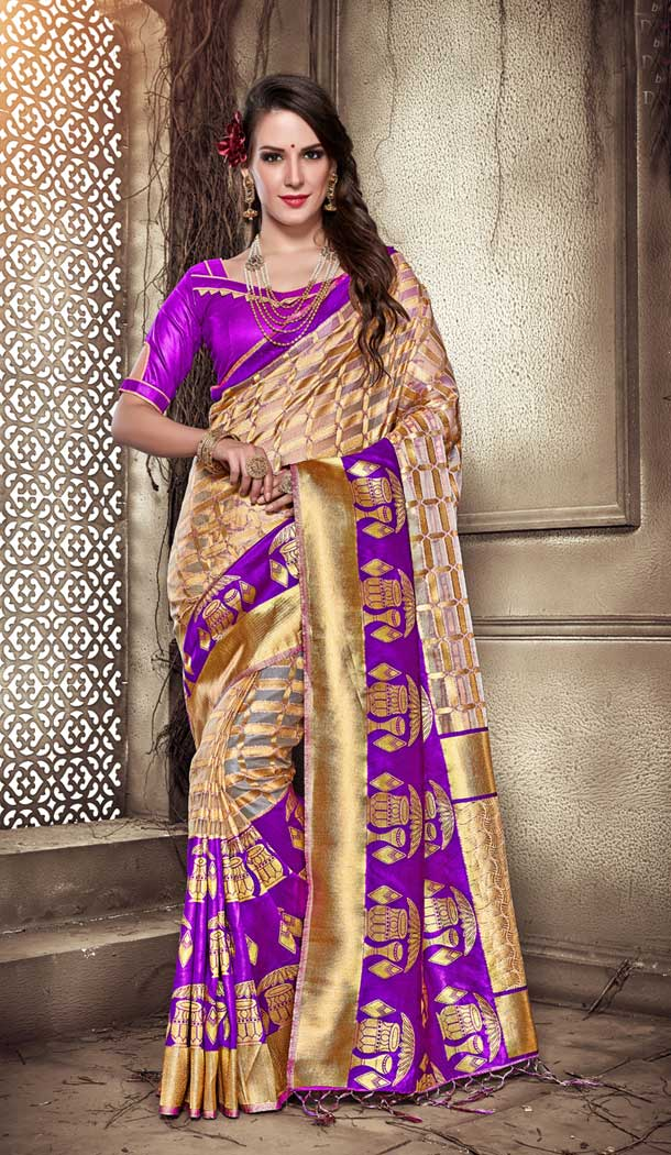 Purple Color Organza Silk Banarasi Tredtional Saree - 390747090