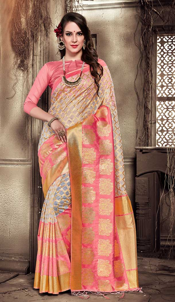 Pink Color Organza Silk Banarasi Traditional Saree - 390747091