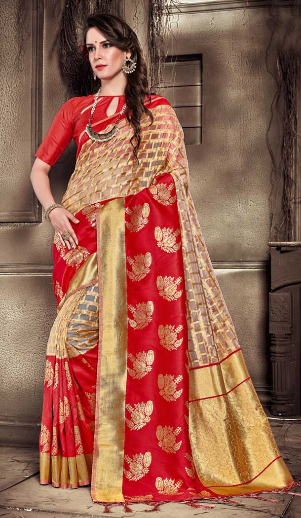 Red Color Organza Silk Banarasi Traditional Saree - 390747092