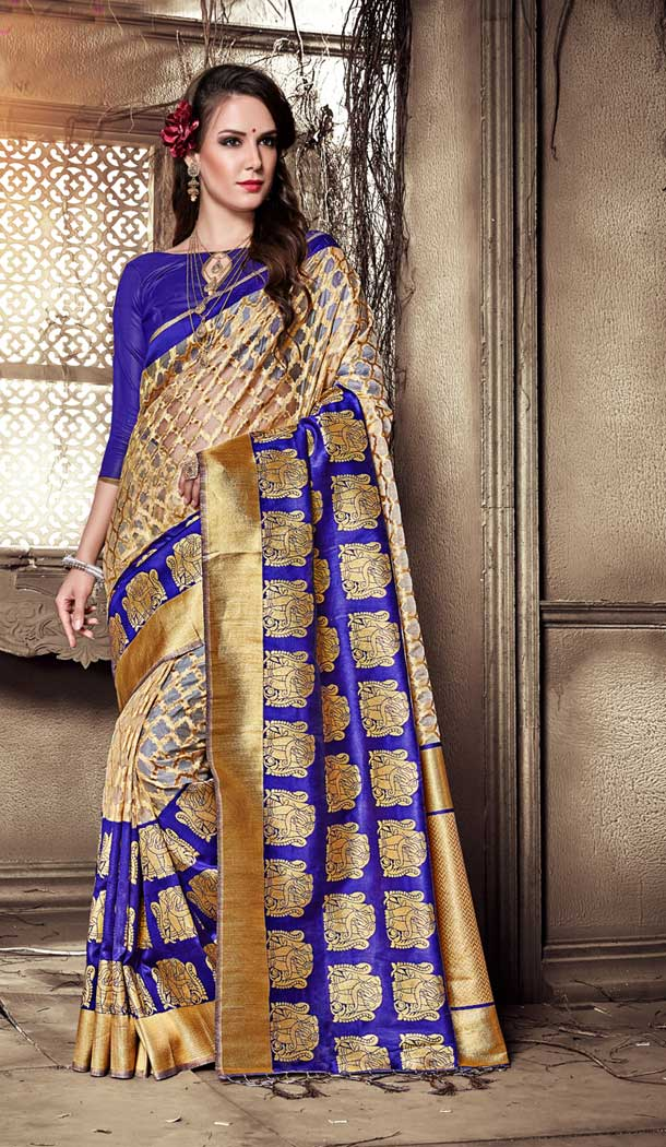 Navy Blue Color Organza Silk Banarasi Traditional Saree - 390747093