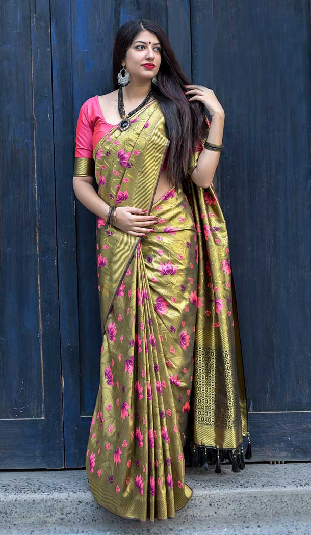 Moukthika Silk Fabric Golden Color Designer Saree Blouse - 393047357