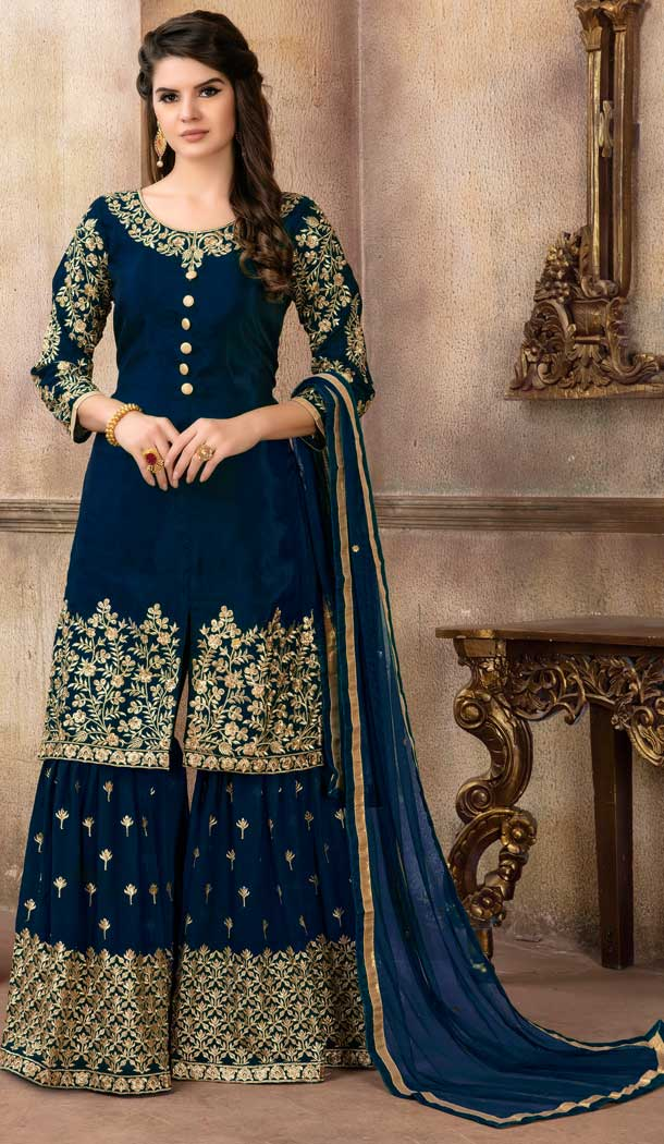 Navy Blue Color Art Silk Pakistani Designer Sharara Suit - 58547804