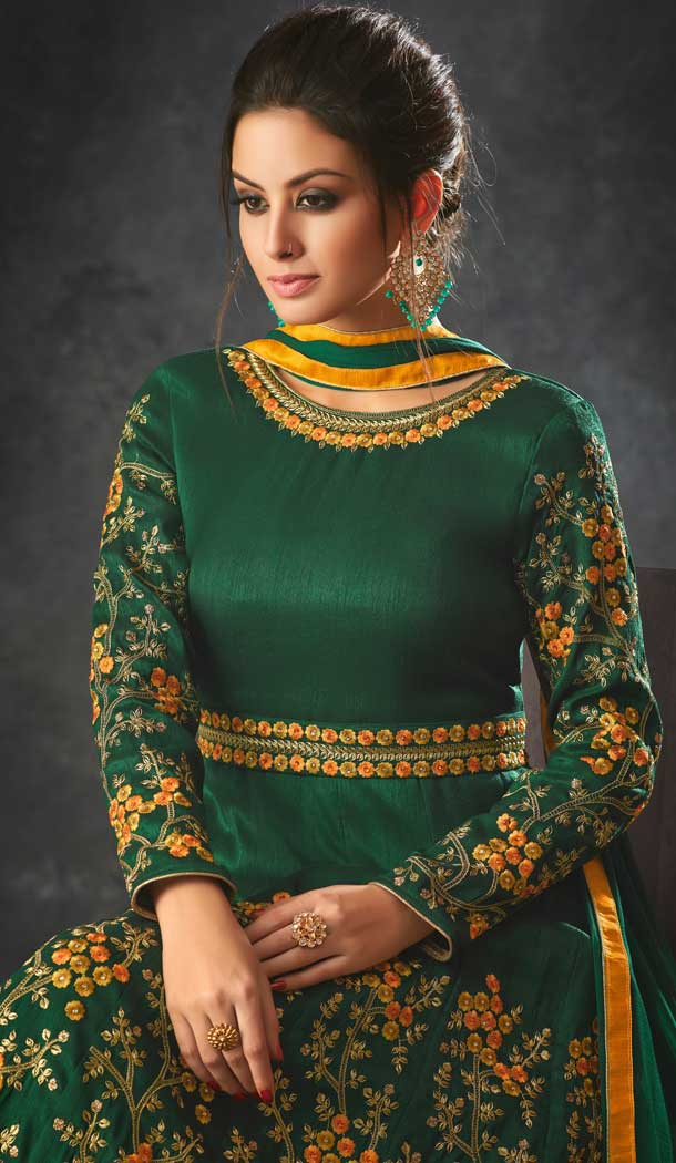 Dark Green Color Art Silk Indo Western Designer Lehenga Suit Heena Style,Colors That Go With Purple And Red