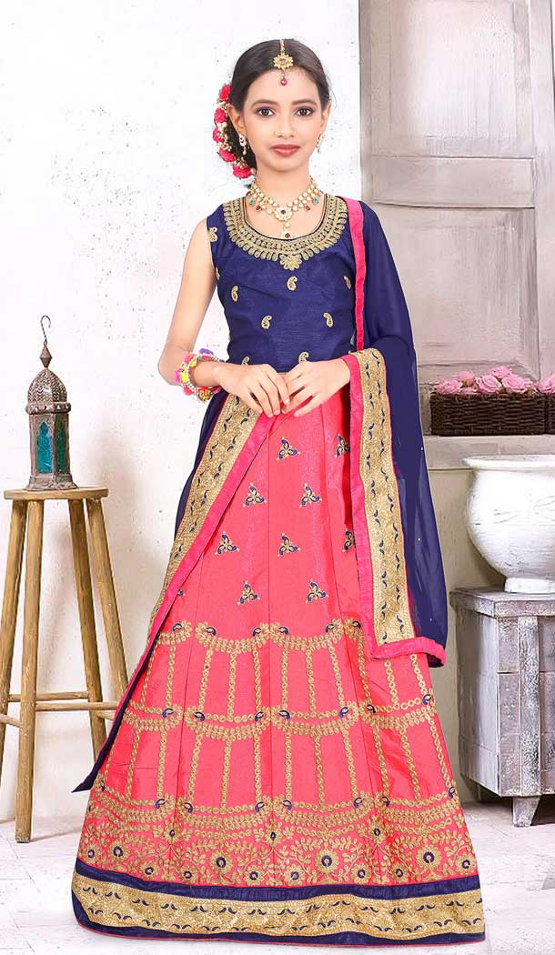 6c9d31e633 Heena Style: Pink Color Japan Silk Designer Kids Girl Lehenga Choli