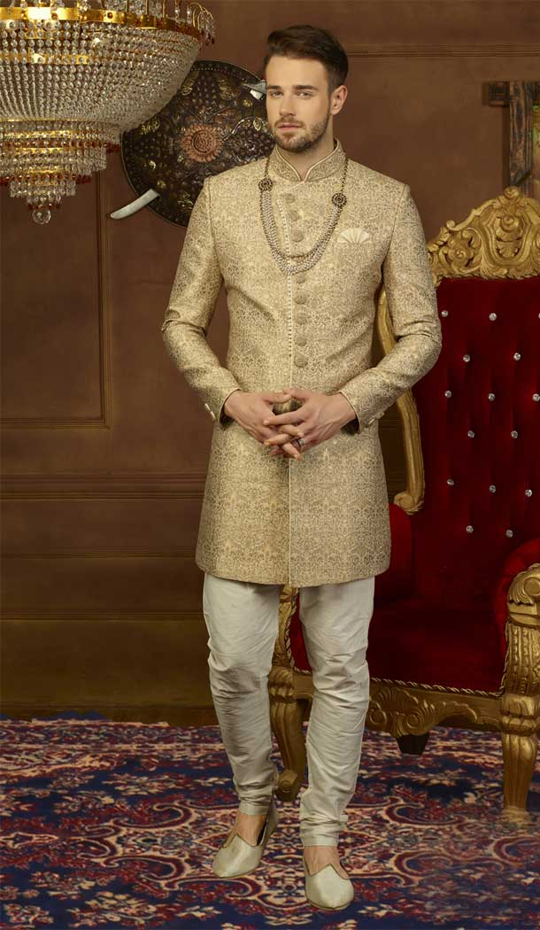 Designer Gold Jacquard Silk Men Kurta Pajama with Plus Size - 395747799