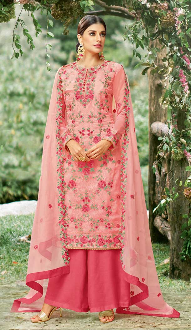 Rose Pink Color Tissue with Inner Rasel Net Pakistani Dresses - 396647823