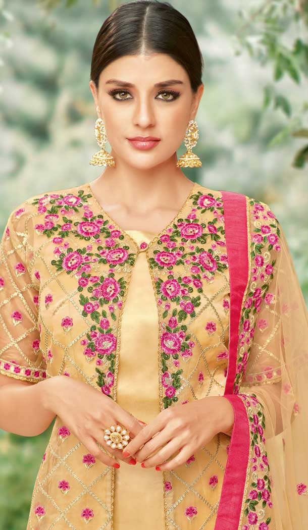 Beige Color Tissue with Inner Rasel Net Pakistani Dresses - 396647825