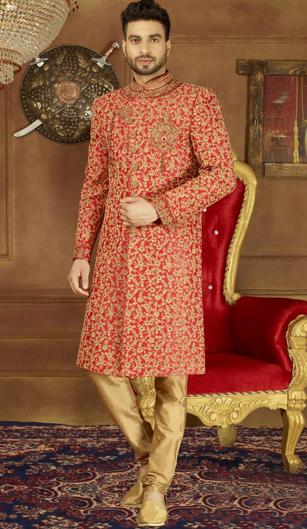 Vogue Men Wedding Designer Heavy Art Banarasi Silk Sherwani in Red - 395647758