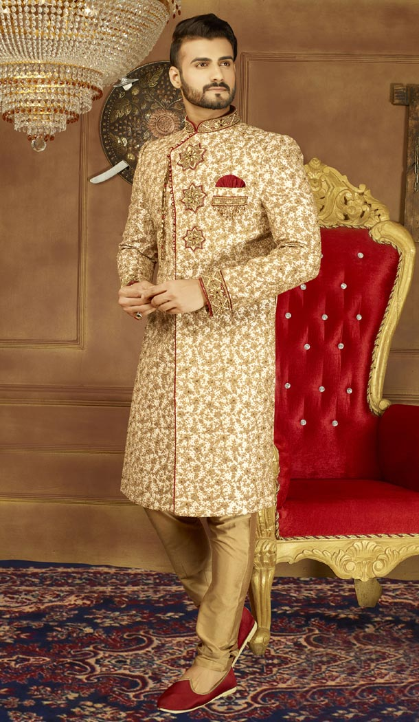 Vogue Men Wedding Designer Heavy Art Banarasi Silk Sherwani in Gold - 395647759