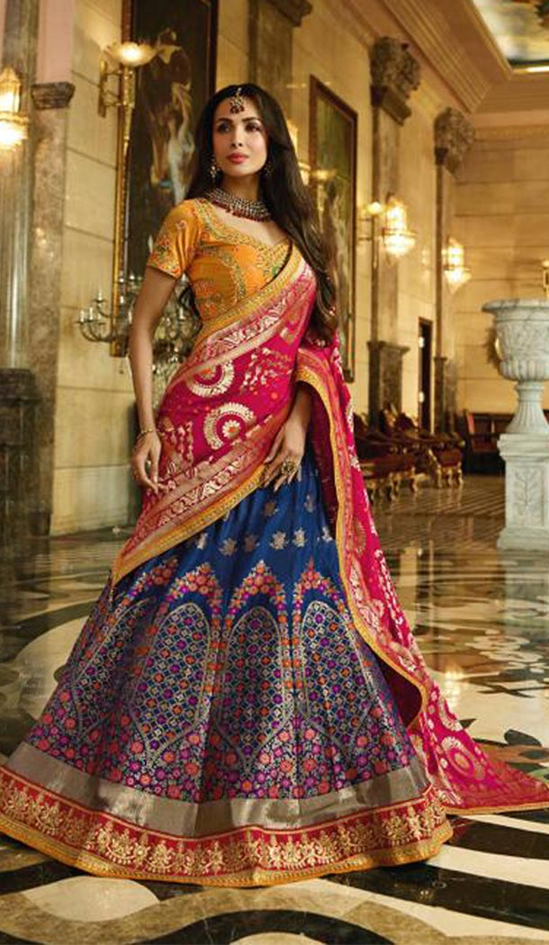 Malaika Arora Khan Wedding Banarasi Silk Lehenga Choli in Orange Color - 394747640