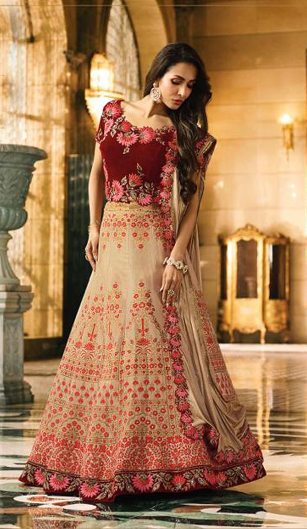 Malaika Arora Khan Wedding Silk Lehenga Choli in Brown Color - 394747642