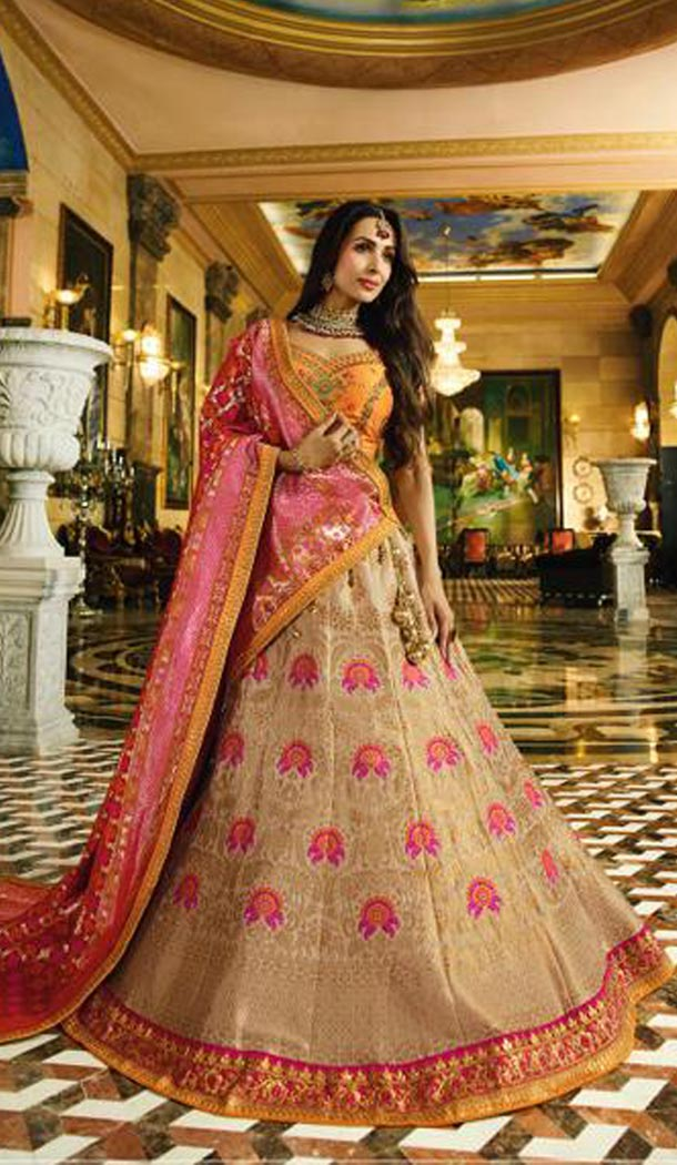 Malaika Arora Khan Wedding Banarasi Silk Lehenga Choli in Orange Color - 394747644