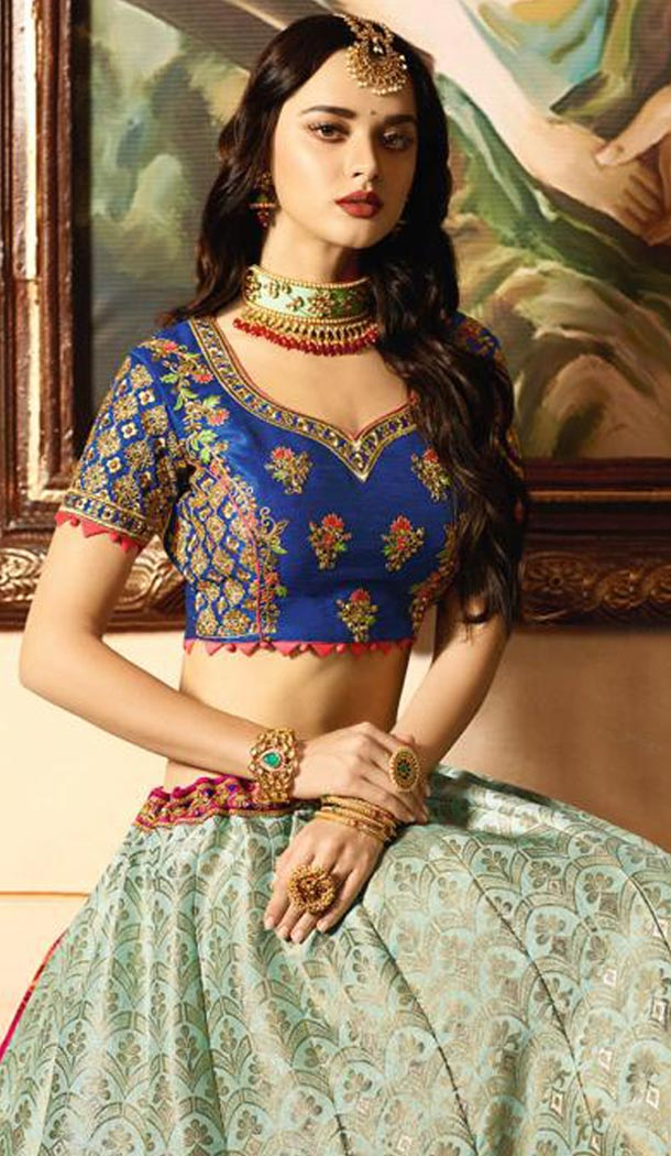 Navy Blue Color Banarasi Silk Designer Wedding Lehenga Choli For Women - 394747645
