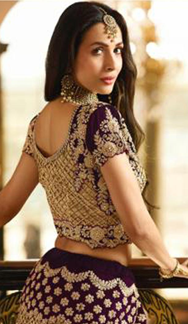 Malaika Arora Khan Wedding Banarasi Silk Lehenga Choli in Violet Color - 394747650