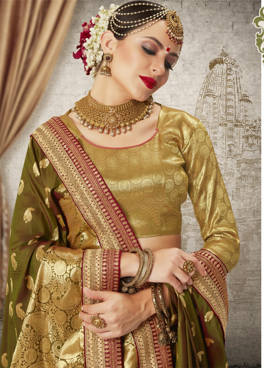 Women Mehendi Green Color Silk Keral Trediotnal Wear Sarees Blouse - 400248248