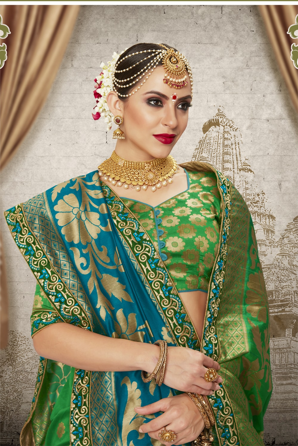 Women Green Color Silk Keral Trediotnal Wear Sarees Blouse - 400248249